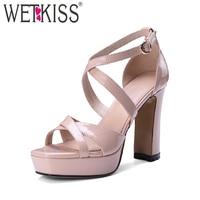 WETKISS Summer Super High Heeled Women Sandals Genuine Leather Platform Footwear 2018 Fashion Gladiator Cross Strap