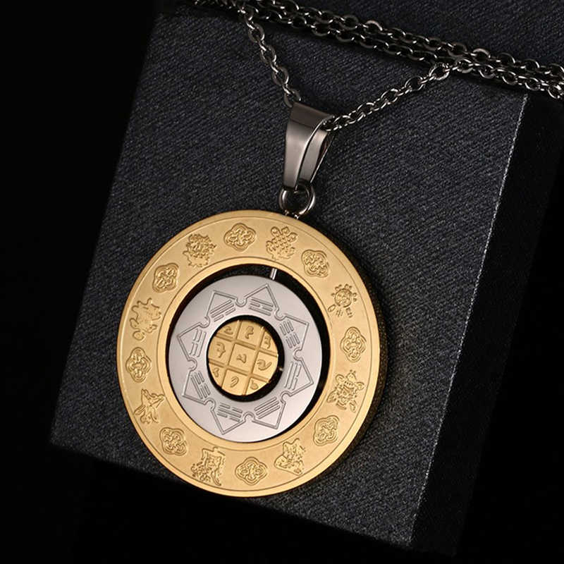 Meaeguet Constellation Chart Pendant For Men Gold-Color Vintage Stainless Steel Pendants Necklaces