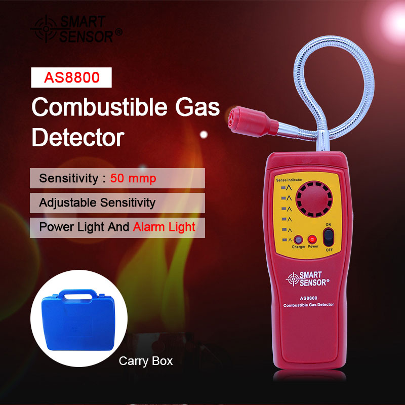 Smart Sensor combustible gas analyzer hand held port flammable gas Leak Detector with Sound Light Alarm + rechargeable battery