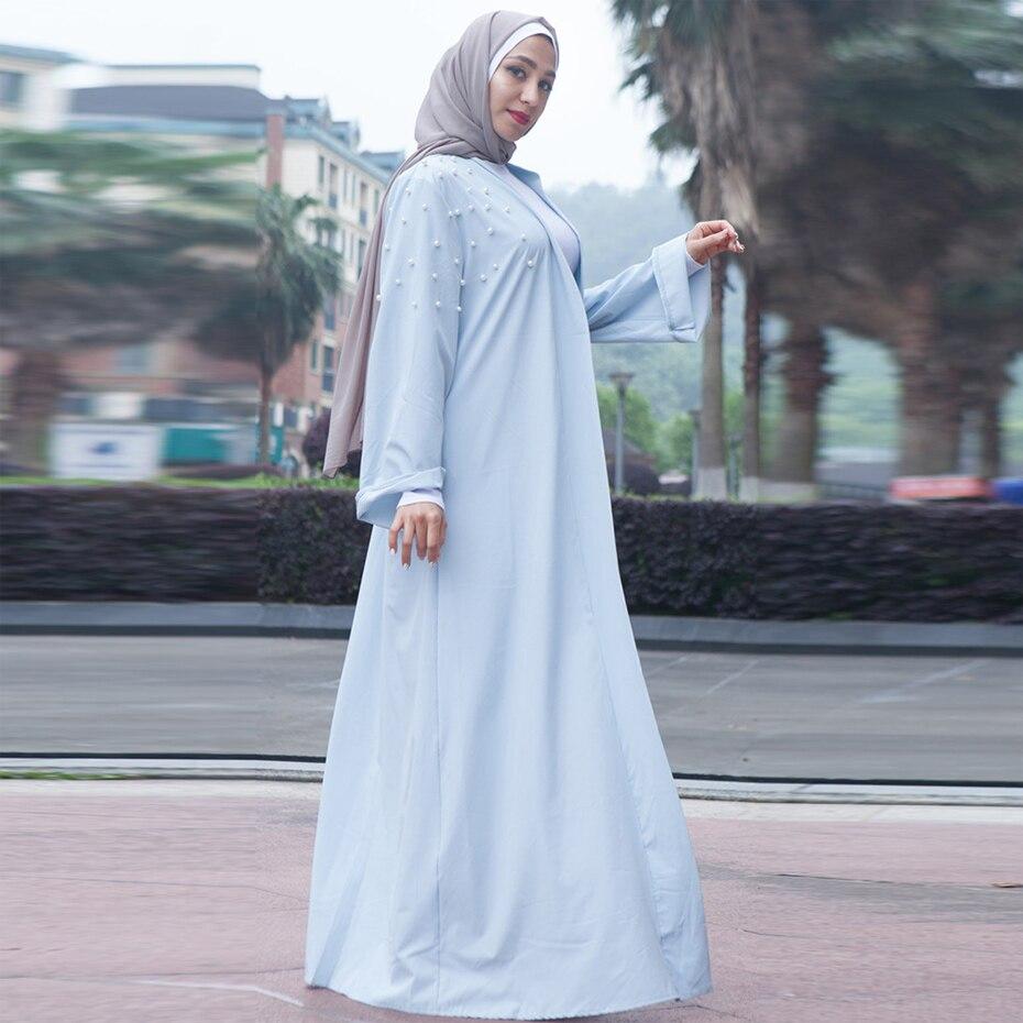 69afa42b9a09 Compre Moda Muçulmana Branco Rosa Turco Abaya Dubai Vestido ...