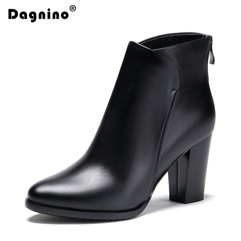 DAGNINO Brand Genuine Leather Women Chelsea Ankle Boots Fashion Thick High Heel Heels Platform Women Ladies Shoes Bota De Neve new arrival superstar genuine leather chelsea boots women round toe solid thick heel runway model nude zipper mid calf boots l63