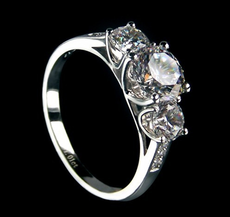 Sterling Gold Ring Moissanite Three Stones Jewelry 1 7ct