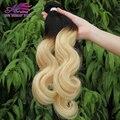 Grau 7A Ombre Malaio Onda Do Corpo Do Cabelo Virgem Platina 1B613 loira 2 Tom Ombre Extensões de Cabelo Humano Onda Do Corpo Malaio cabelo