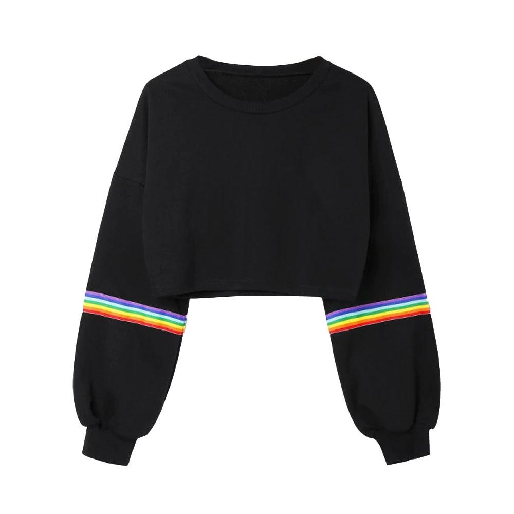 Hip Hop Crop Top Pullovers Women Crew Neck Long Sleeve Black Sweatshirt Ladies Autumn Casual Loose Jumper Tops Pullover #Zer