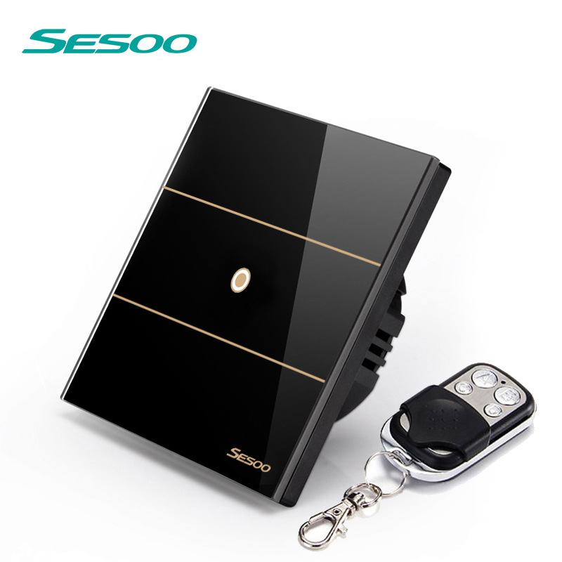 SESOO Touch Wall Switch 1 Gang 1 Way SY5-01 Black Touch Light Switch RF433 Remote Control Switch 170-240V ewelink eu uk standard 1 gang 1 way touch switch rf433 wall switch wireless remote control light switch for smart home backlight