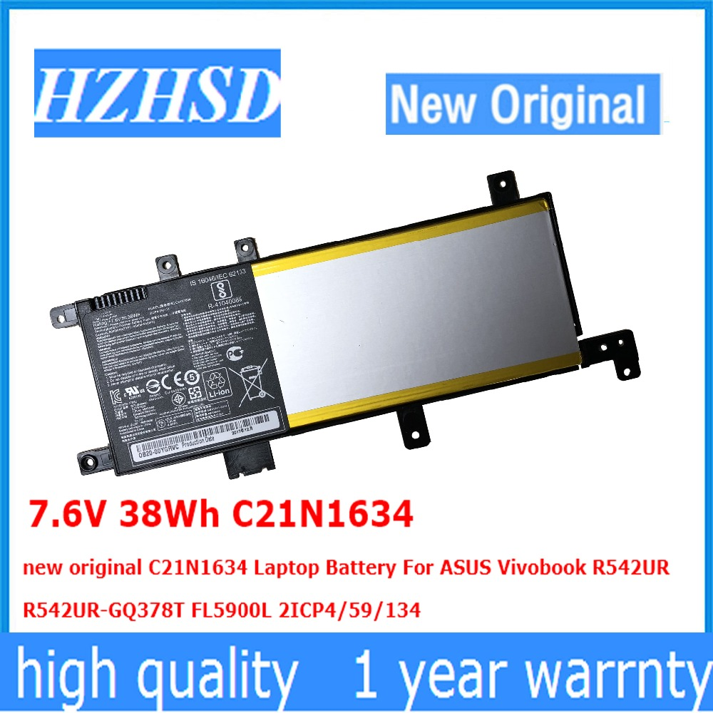 7.6V 38Wh C21N1634 new original C21N1634 Laptop Battery For ASUS Vivobook R542UR  R542UR-GQ378T FL5900L 2ICP4/59/134 7.6V 38Wh C21N1634 new original C21N1634 Laptop Battery For ASUS Vivobook R542UR  R542UR-GQ378T FL5900L 2ICP4/59/134