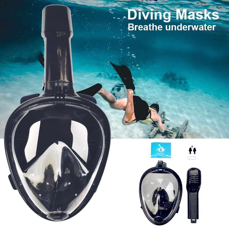 2019 Full Face Snorkeling Masks 180 View Anti-fog Anti-Leak Snorkel Scuba Underwater Diving Mask Red/Black/Blue/Green