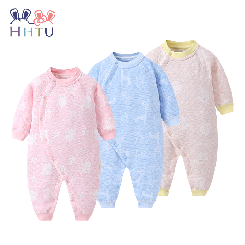 HHTU  Newborn Quilted Cotton Keep Warm Baby Boys Girls rompers Clothing Autumn Winter Infants Jumpsuits Boneless Sewing baby climb clothing newborn boys girls warm romper spring autumn winter baby cotton knit jumpsuits 0 18m long sleeves rompers