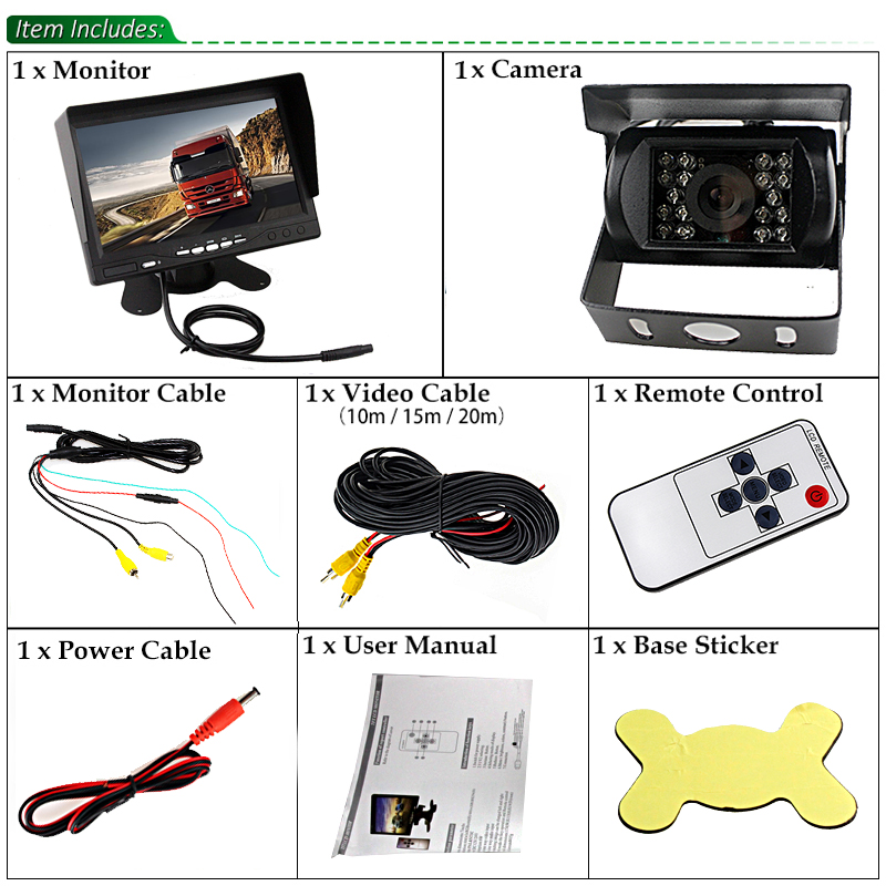 Sinairy DC 12V-24V 7 Inch TFT LCD Car Monitor IR Night Vision CCD Rear View Camera For Vehicle Truck Van Caravan Trailers Camper