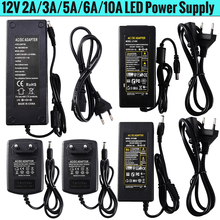 12V 2A 3A 5A 6A 10A Power AC 100V 240V to   lighting transformers Power Supply Adapter Converter Charger For LED Strip light D25 ac 100v 240v converter adapter to dc12v 1a 2a 3a 4a 5a 6a power supply for 3528 5050 5730 led flexible tape strip light