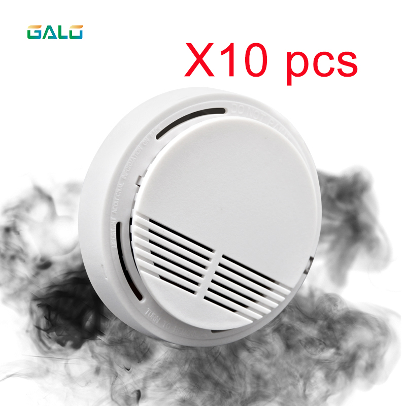 R 10PCS Sensitive Fire Protection Smoke Detector Work Independently Home Warehouse Office Security Alarm