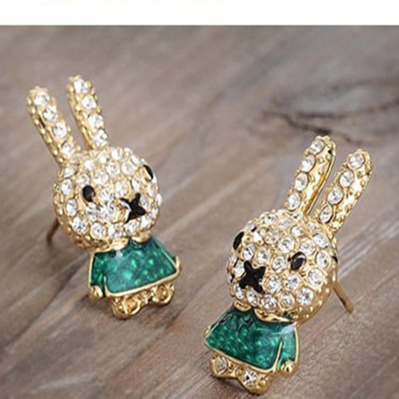 EX039 free shipping 2018 New Stud Earrings cute bunny rabbit rhinestone crystal earring for women female girls cheap charms