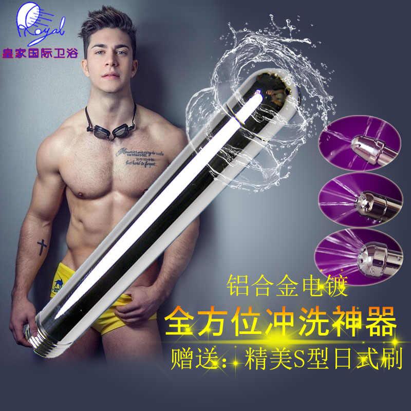 Bergegas Anal Douche toilet Kran Shower Membersihkan Enemator Dengan 3 gaya Kepala Plug Logam Anal Enema Cleaner Butt Plugs Sex mainan