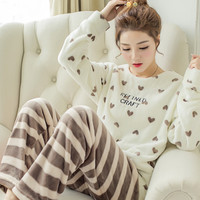 JINUO Autumn Winter Women Flannel Pajamas Set 2017 Women Pajamas Pant Sleepwear Warm Nightgown Printed Sleepwear