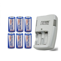 6pcs LITELANG 1200mAh 3.7v CR123A rechargeable LiFePO4 battery lithium battery with charger