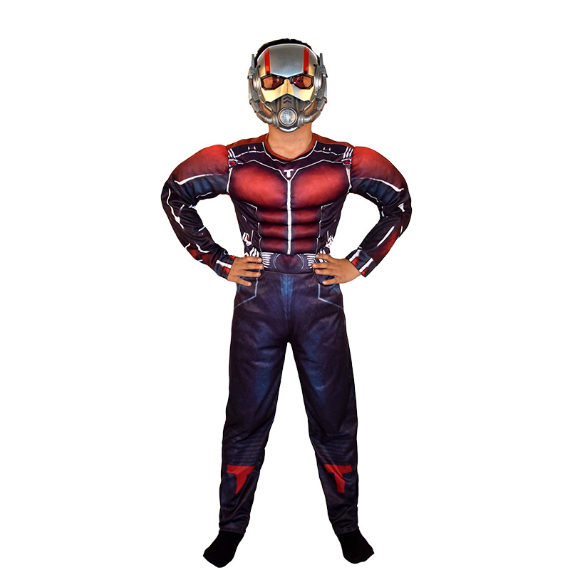 S-L Deluxe Ant man Muscle Costume Boys Marvel New Superhero Cosplay Halloween Fancy Dress Outfit For Kids with Mask
