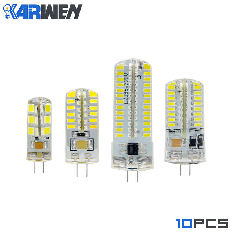 KARWEN 10pcs/lot LED Bulb G4 Lamp 3W High Power SMD3014 2835 DC 12V AC 220V White/Warm White Light Silicone Chandeliers