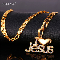 Jesus Piece Heart Necklace Women Men Jewelry 18K Gold Plated Platinum Christian Jewelry I Love Jesus