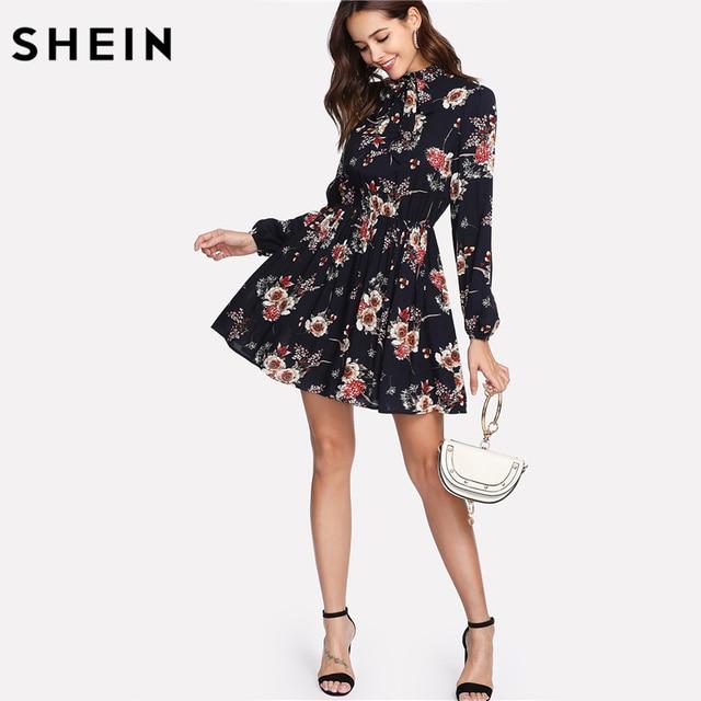 SHEIN Autumn Floral Women Dresses Multicolor Elegant Long Sleeve High Waist A Line Chic Dress Ladies Tie Neck Dress 2
