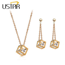USTAR Cube inside Zircon Crystals Jewelry Set for women Gold color Drop Earrings and Pendant Necklace