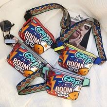 2019 new fashion hip hop graffiti unisex waist bag female PU leather waterproof fanny pack purse man casual moblie phone bags