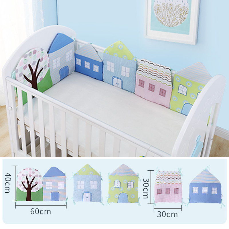 1-12Pc/Lot Infant Crib Bumper Bed Protector Baby Kids Cotton Cot Nursery bedding House b ...