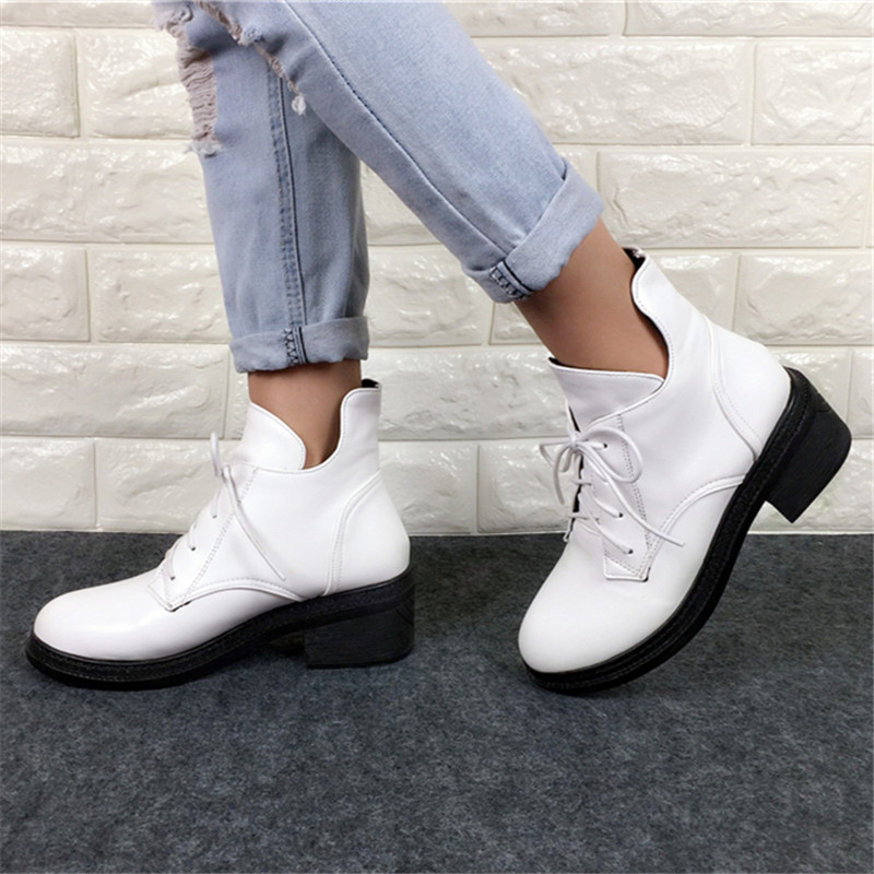 Neue Mode frauen Lace Up Combat Punk Ankle Martin Stiefel Weibliche - Damenschuhe - Foto 4