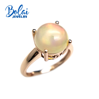Bolaijewelry,Unique Ring Natural Opal round 10.0mm 3ct gemstone Ring 925 rose sterling silver fine jewelry for women party gift