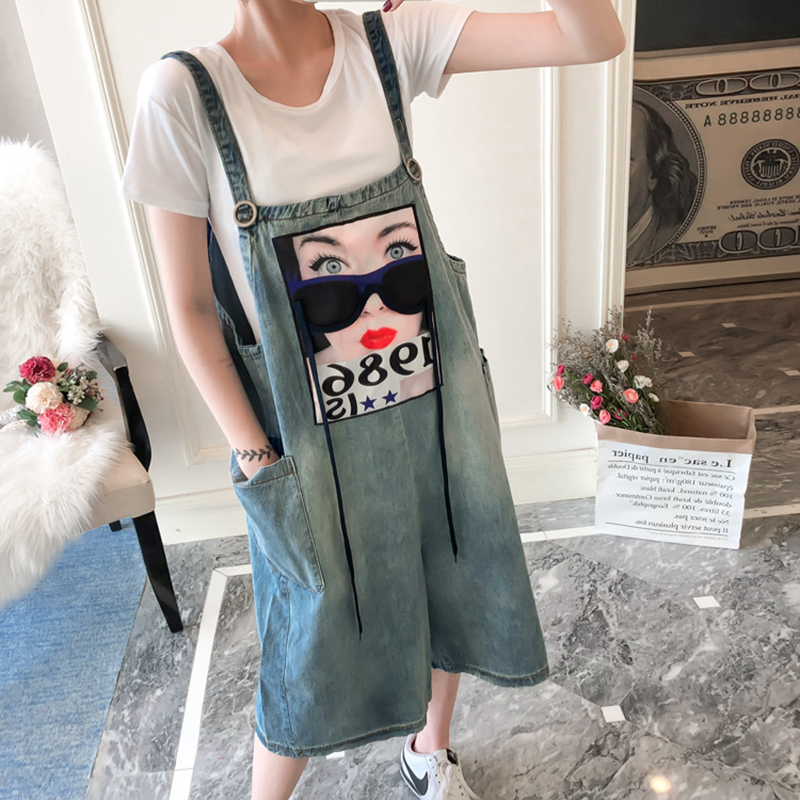 Wide Leg Denim Overalls Summer 2018 Women Print  Jean Jumpsuits Female Plus Size 5XL Strap Loose Calf Length Pants Denim Rompers