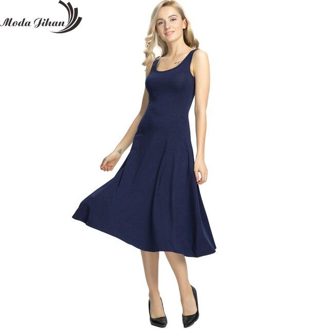 Moda Jihan Ladies Maxi Dress Women s Sleeveless Casual Knee-length Tank  Dress Stretchy Cotton Big Hem Long Dresses Vestidos 300a5c7fe