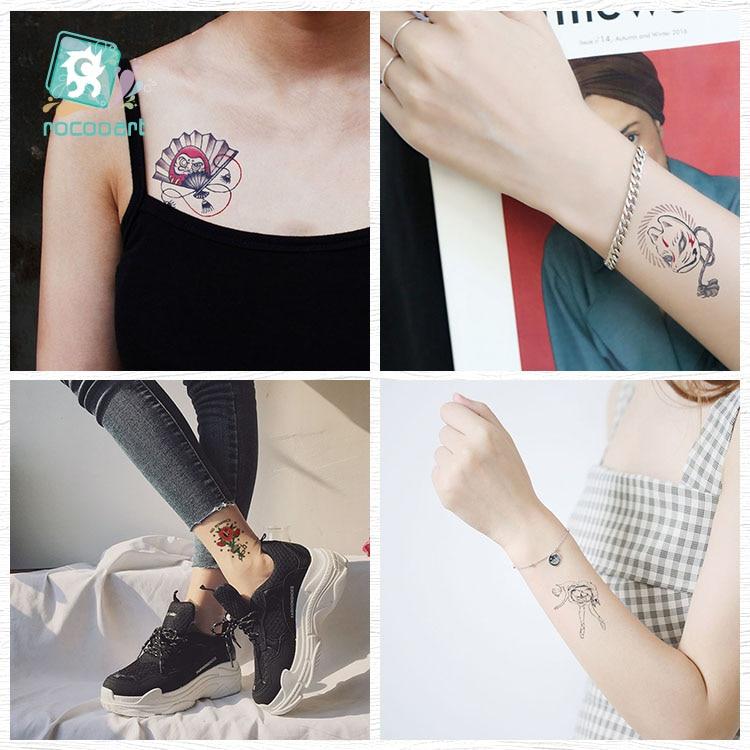 Rocooart Black White Style Tattoo жапсырма Tree Taty Flower - Тату және дене өнері - фото 4