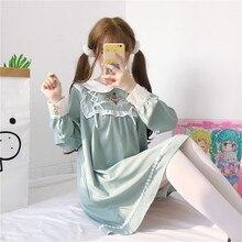 KYQIAO Cosplay costumes mori girls autumn spring Japan style kawaii sweet long sleeve peter pan collar lace-up dress vestidos