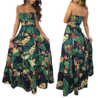 Green tropical leaf print 2 piece dress women summer boho casual maxi dresses strapless long sundress chic boho beach dress