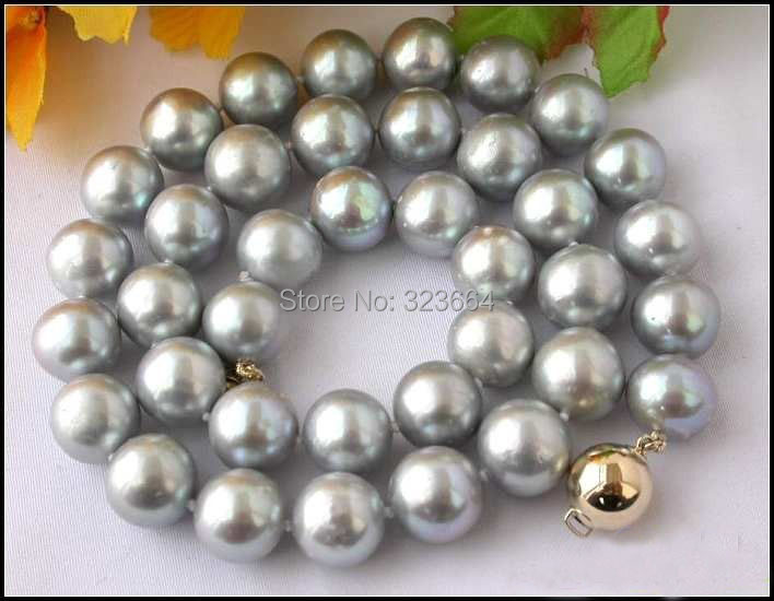 AAA+++ 17.5 12MM GRAY ROUND FW CULTURED PEARL NECKLACEAAA+++ 17.5 12MM GRAY ROUND FW CULTURED PEARL NECKLACE