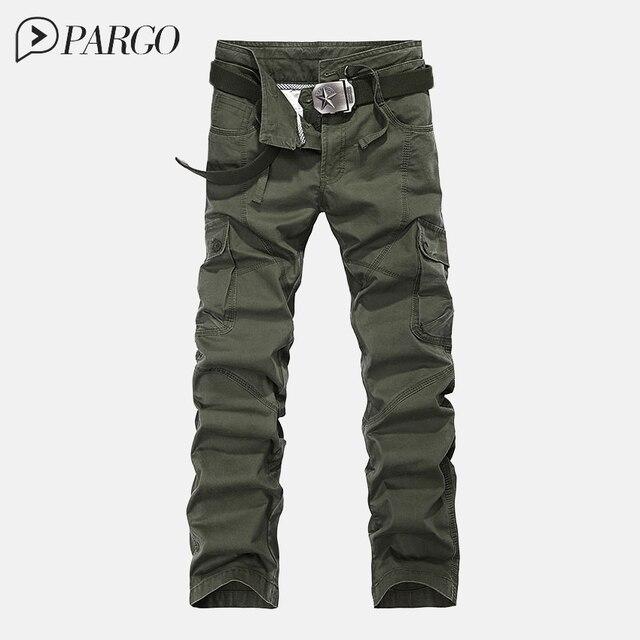 2016 высокое качество мужской грузов брюки мульти-карман случайные военные и армия зеленый камуфляж мужчины хлопок брюк брюки (нет belt3105