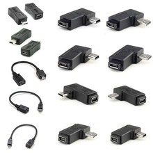 90 Degree Left & Right Angled Mini USB 5pin Female to Micro USB Male Data Sync Adapter Plug Micro USB To Mini USB Connector(China)