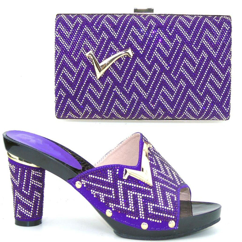 ФОТО CP2017 PURPLE Italian matching shoe and bag sets for party/wedding Free Shipping  37-43