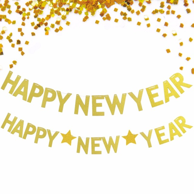 glitter happy new year bunting banner garland photo booth props diy kits new year holiday home