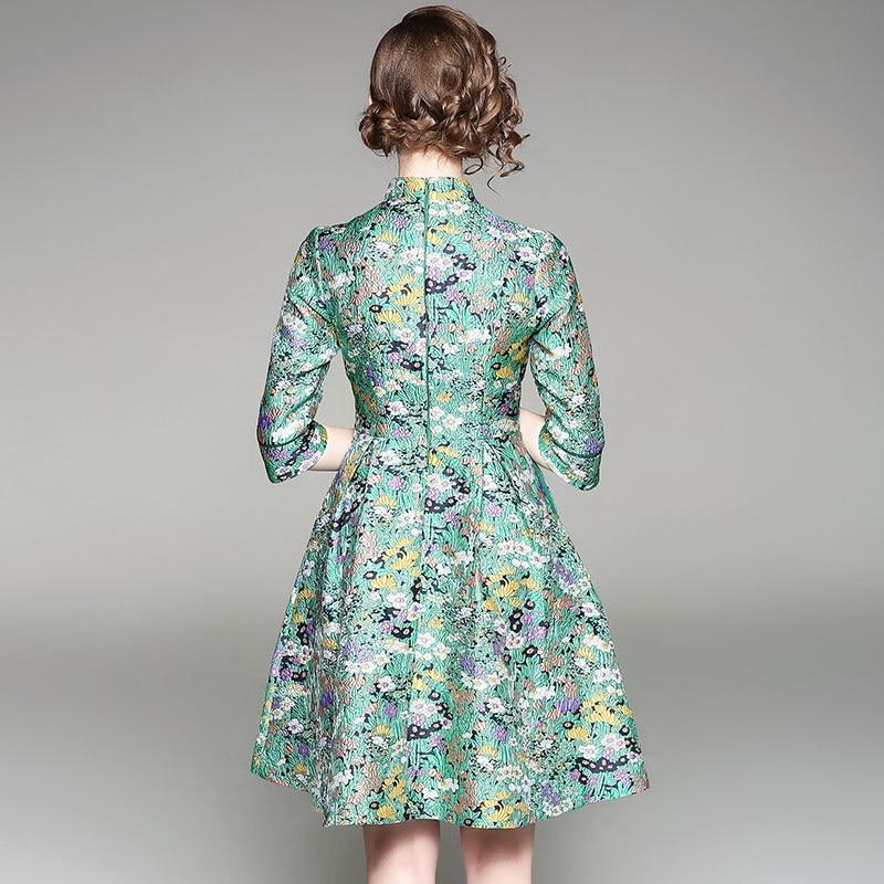 Haut De A Femmes 2018 Impression Gamme Printemps Demi Vert Oycp Luxe Mode 80022 Mince Robe ligne Nouvelle Manches UtwZxS0q