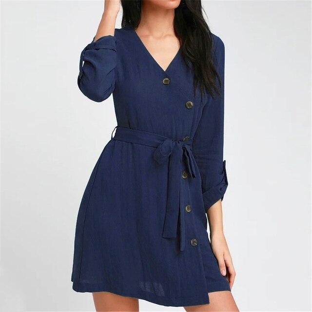 Summer Dress 2019 Women Solid Mini Dresses Fashion A-Line Slim Button Dress Casual V-neck Sundress Elegant Ladies Sashes Dresses