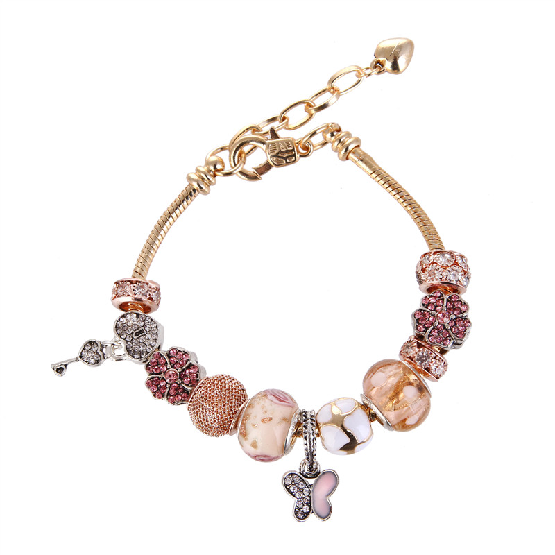High Quality Rose Golden Butterfly Pendant Crystal Rhinestone Charms Bracelet Pandora Bracelet For Women/Gril gift jewelry