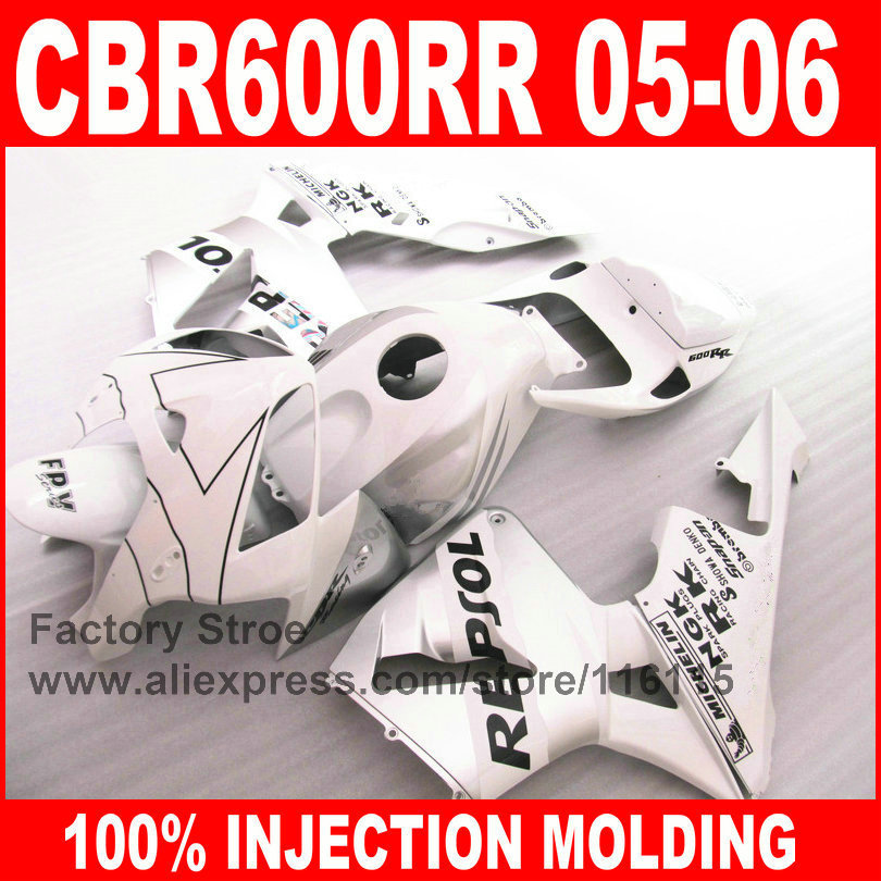Custom 100 Injection Molding parts for HONDA 2005 2006 CBR 600RR 05 06 CBR600RR fairings white