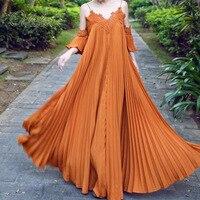 Ordifree 2019 Summer Women Long Pleated Dress Spaghetti Strap White Lace Maxi Beach Dress