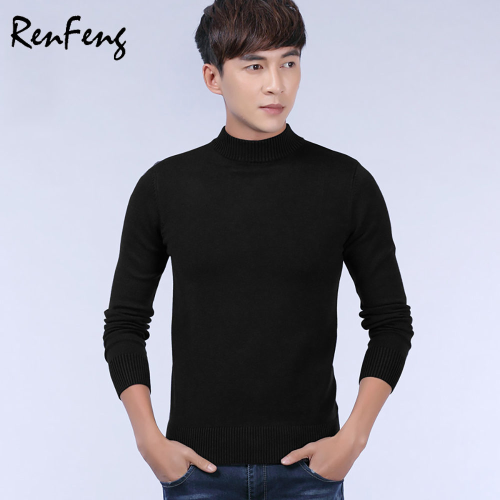 Half turtleneck sweaters men 2018 Fashion Jumpers Korean sweat-shirts clothes Pullovers Knitting Thick Christmas Sweater homme ...