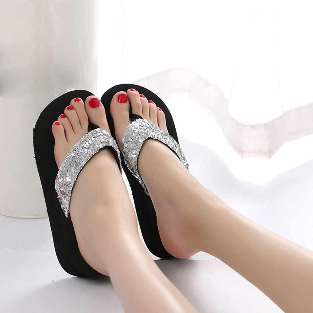 Phụ nữ giày Mùa Hè Shiny Sequins Chống-Trượt Dép Dép Trong Nhà & Ngoài Trời Flip-Flops zapatos de mujer phụ nữ giày