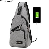 SAFEBET бренд USB зарядка Anti Theft груди пакет моды Для мужчин Портативный Водонепроницаемый Travel Organizer Сумки На Плечо Талия пакеты бумажник