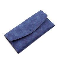 Trendy Fashion Nubuck Thin Purse Women Korean Style Designer Large Capacity Money Clip Solid Color Simple