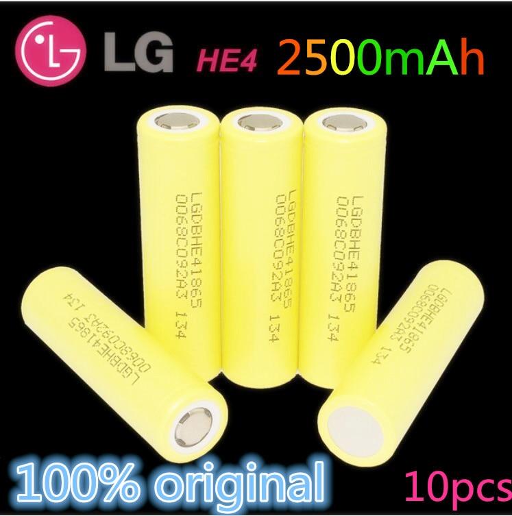 10PCS Original LG HE4 3.6V 18650 Battery 2500mAh  35A high drain power original electronic cigarette battery+Free shipping