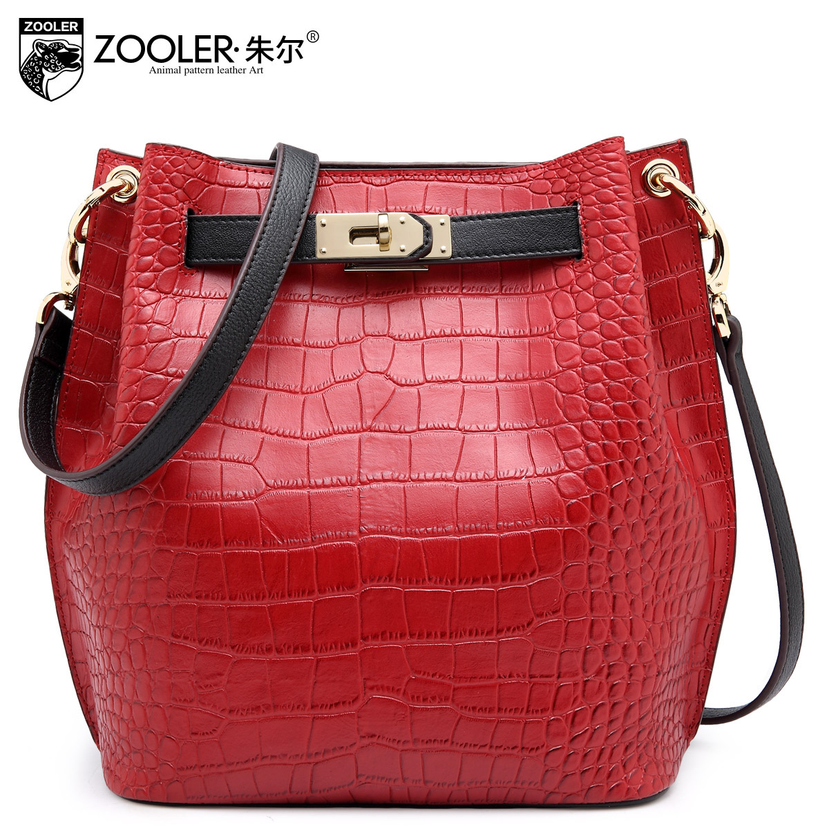 ZOOLER Brand Women Genuine Leather Bucket Bags 2017 New Fashion Ladies Shoulder Bag Real Leather Crocodile Pattern Crossbody Bag unicalling fashion brand split leather crocodile women bag retro top grade bucket bag chain mini crossbody bags for women