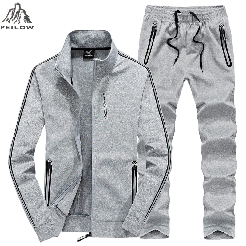 PEILOW plus size L~7XL 8XL winter jacket men outwear cotton Sweatshirt Tracksuit Men`s sportswear Jogger male set jacket+pant